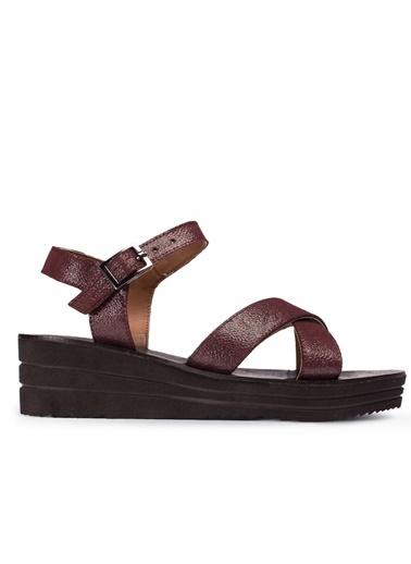 Deery Hakiki Deri Sandalet Bordo